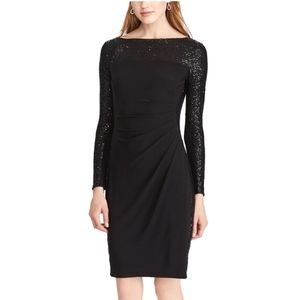 CHAPS sequin long sleeve sheath dress